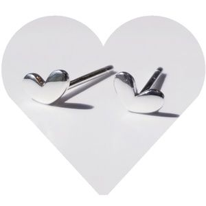 925 Silver Heart Studs Minimalist Simple